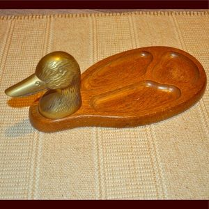 Vintage Brass/Wood Duck Valet